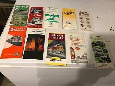 Time tables Lot Vintage Railroad Seaboard Burlington southern Lackawana