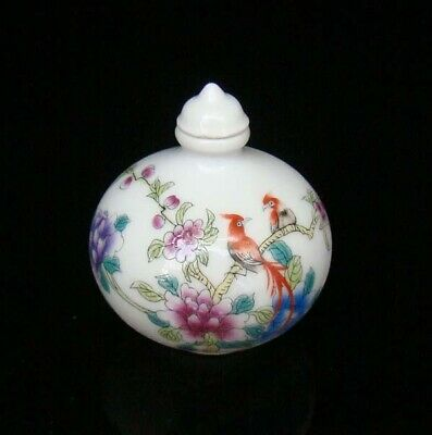 Collectible 100% Handmade Painting Porcelain Snuff Bottles Flower Bird 29