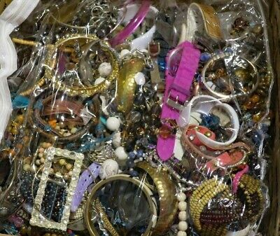 Vintage Now Jewelry Huge Lot Box Pounds Junk Craft Wear Brooches Chains Earrings