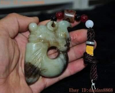 China Hongshan Culture Hetian jade Hand carved cicada Pig Dragon statue Pendant