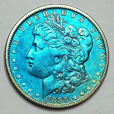 1888-O Rainbow Toned Morgan Silver Dollar 90% Silver $1 Coin Us #S81