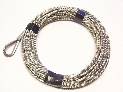 """3/16"""" x 25 ft Stainless Steel Winch Cable, SS Thimble & ZP Copper Sleeve Eye"""