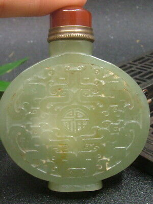Antique Chinese Nephrite Celadon-HETIAN-OLD-Jade YUNLONG Statues Snuff Bottles