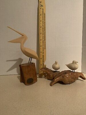 Vintage Pair (2) Of John Perry Seashore Sculptures Pelican And Shore Birds