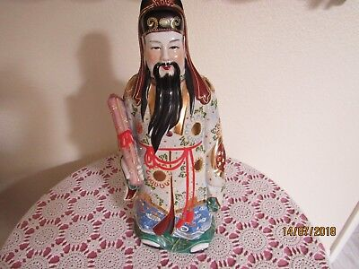 Chinese Exceptional Moriage Satsuma Statue Of Luk God Of Power + Authority