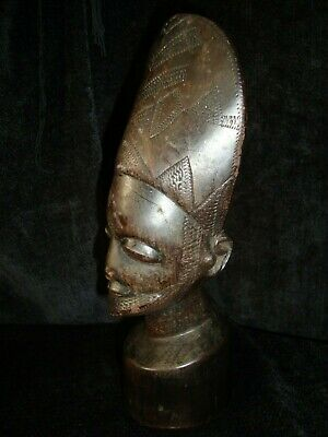 Antique-Vintage African-Asian Carved Wooden Head Bust w/ Crescent Headress