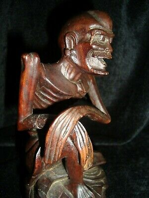 Antique-Vintage Chinese Boxwood  Smiling Skinny Old Man Carving