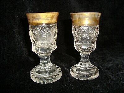 Very Small Antique Heavily Cut & Gilded Thick Foot Drinking Glasses