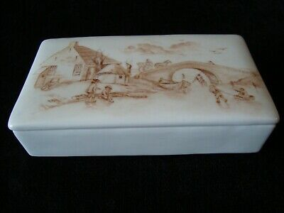 Small Antique Hand Painted White Porcelain Box - Unusual