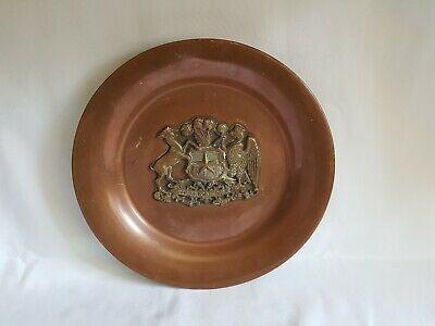 Vintage Copper & Brass Charger With Republic Of Chile Crest