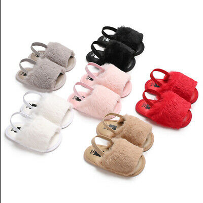 Kids Newborn Baby Boy Girls Letter Solid Hairy Soft Sandals Slipper Casual Shoes
