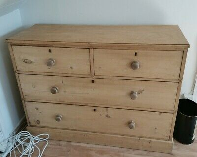 Large Antique Victorian Stripped Pine Chest Of Drawers