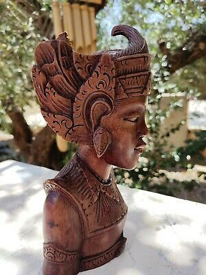 Vintage Balinese Hand Bust Carved Wooden Girl  - Made In Bali