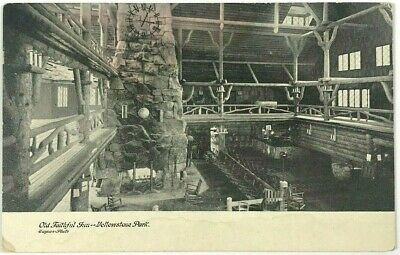 Old Faithful Inn Interior Lodge Yellowstone Park Haynes Photo Wyoming Postcard