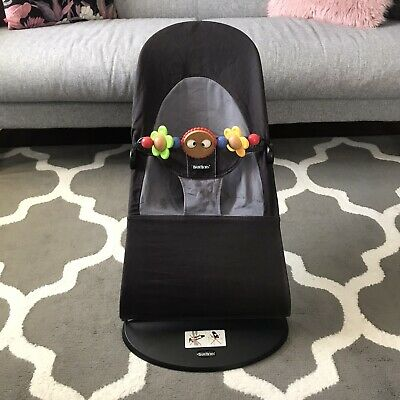 Baby Bjorn Bouncer Balance Soft With Wooden Toy, Black / Grey Cotton