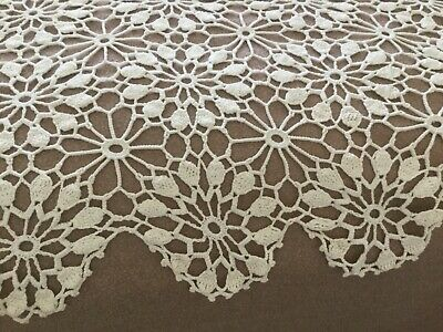 Vintage hand crocheted bed coverlet or tablecloth euchre