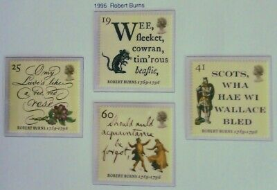 Royal Mail Stamps, Robert Burns 1996. Unmounted Mint