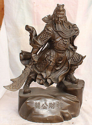 "20"" Chinese Bronze Dragon ""Guan Gong"" warrior Guangong GuanYu Lion Sword Statue"