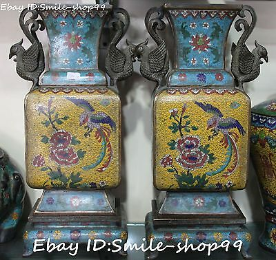 Old China Cloisonne Enamel Bronze Phoenix Handing Bird Flower Vase Bottle Pair