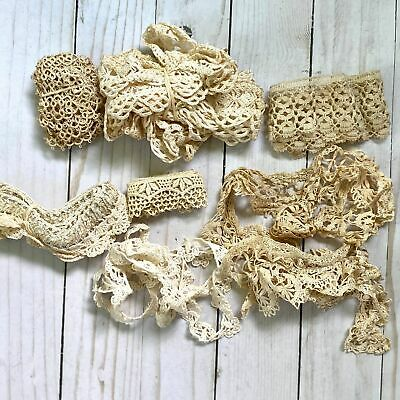 Mixed Lot of Antique and Vintage Ivory Crocheted Lace Trim