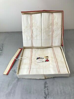 Vintage Embroidered Pillowcase and Bolster Set