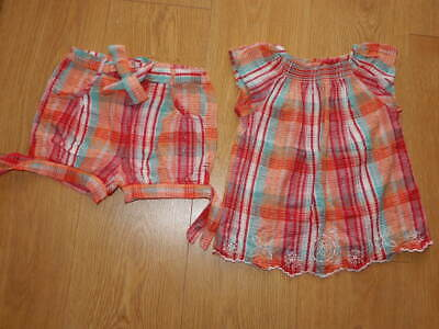 GIRLS ~ 2 3 yrs ~ JOHN LEWIS BABY Seersucker Plaid 2pc SUMMER OUTFIT Shorts Top