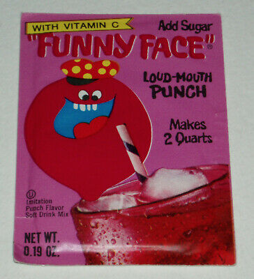 1972 Pillsbury Funny Face Loud Mouth Punch - full pack - EX cond - drink mix