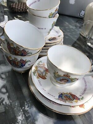 Queens Coronation 1953 Cups, Saucers And Side Plates
