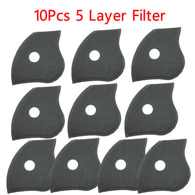10Pcs Activated Carbon Filter Anti Dust Bicycle Cycling Face 5 Layers Filter
