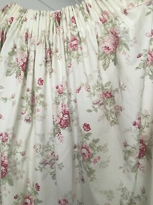 Dorma Curtains Pair Floral Design Bunches Of Roses & Wildflowers VGC Smoke Free