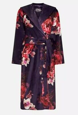 Ted Baker - Purple Floral Print 'Splendour' Hooded Dressing Gown Robe Size 8-10