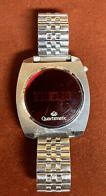 Vintage Westclox Quartzmatic LED Mens Watch Stainless Band