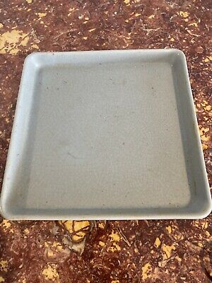 A Chinese Celadon Crackle Glazed Porcelain Square Dish Tray