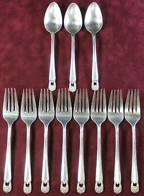 1847 Rogers Bros Silverplate ETERNALLY YOURS 8 Salad Dessert Forks + 3 Teaspoons