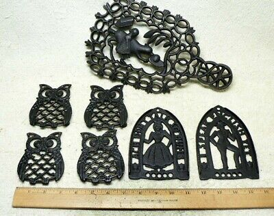 Lot of SEVEN/7 Cast Black Iron Trivets.Various Types & Sizes.Owls People Figural