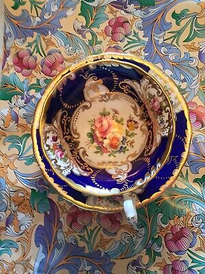 Royal Chelsea Number 5030 Royal Blue Floral Gilded Tea Cup And Saucer