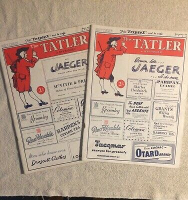 2 Vintage Copies Of The Tatler & Bystander Magazine From 1951 & 1952 Rare