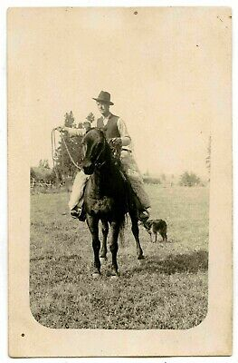 Cowboy on Horse with Lasso and Wooly Chaps RPPC