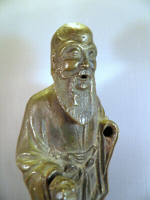 "Antique Chinese Statue Part of SAU? 10.75"" CHINESE GOD WEALTH WISDOM LIFE!!"