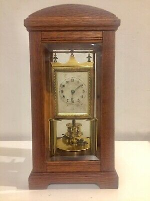 Stunning Antique Rare Oak Cased 4 Side Glass Torsion Anniversary Clock