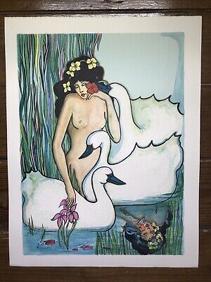 Vintage Original Watercolor Painting ~ Nude Woman Swans Water Reflection Beauty