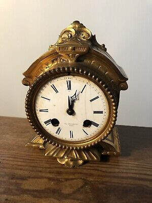 Antique Mantle Clock , F.L. Hausburg Paris 8 Day , Bell Strike In Ormolu C1860s