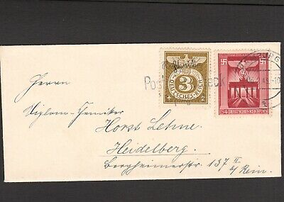 GERMANY 1943 COVER FROM HAMBURG WITH 3pfg PHILATELIC CANCELLATION STAMP &c