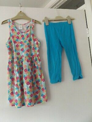 Gymboree summer outfit / set dress and 3/4 leggings aged 5-6 Years