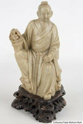China 19/20. Jh A Chinese Carved Soapstone Figure Of Lan Caihe Scultura Cinese