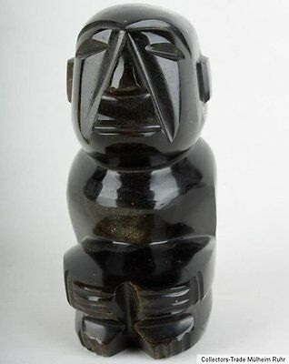 South America 20. Jh A Pre-columbian Style Stone' Gold Sheen Obsidian' Sculpture