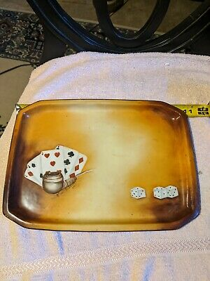 Vintage hand painted ceramic smokers/ gambling tray