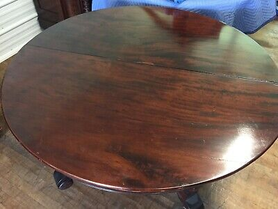 1880's BURLED MAHOGANY Empire Table w/ Leaves  MUST SEE stunning
