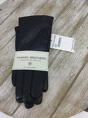 Fownes Brothers Pearl Trim Faux Fur Lined Leather Gloves In Black Size L