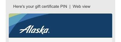 Alaska airlines travel credit certificate/gift/voucher/pin $1278($820 and $458)